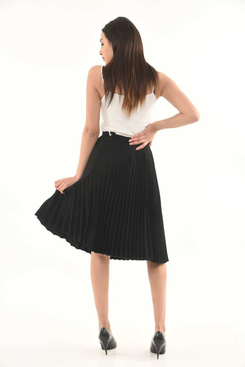 3460c80433 Black permanently pleated Skirt - DressXChange